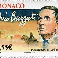 Dino Buzzati aláírása emlékbélyegén