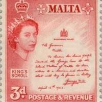 VI. György nevezetes kitüntető levele máltai bélyegen