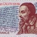 Kálvin János kézírása francia bélyegen