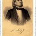 Liszt Ferenc aláírása évfordulós osztrák bélyegen