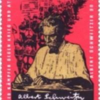 Bélyegek Albert Schweitzer 90. születésnapjára aláírásával