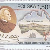 Strzelecki aláírása lengyel bélyegen