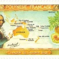 William Bligh aláírása Francia Polinézia bélyegén