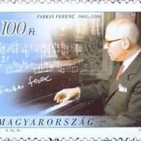 Farkas Ferenc aláírása a Jeles magyarok sorozat bélyegén