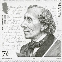 Andersen, a dán meseíró sorai máltai emlékbélyegén