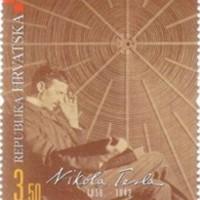 Tesla aláírása horvát emlékbélyegén