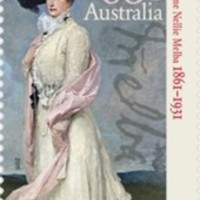 Nellie Melba operaénekesnő festett portréja és aláírása