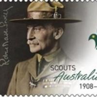 A cserkészet alapítója és aláírása ausztráliai bélyegen