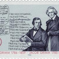 Kézírás a mesegyűjtő testvérek bélyegén