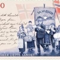 Björnson kézírása a norvég himnusz emlékbélyegén