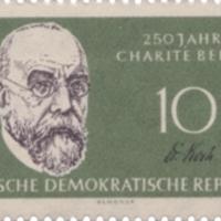Robert Koch aláírása a Charité évfordulós bélyegén