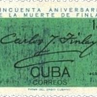 Carlos Finlay aláírása kubai emlékbélyegei egyikén