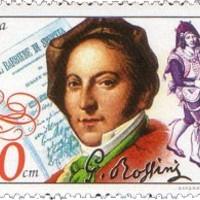 """Rossini """"dallamos"""" aláírása bolgár bélyegen"""