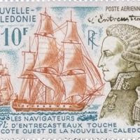 A francia hajós d'Entrecasteaux kézjegye Új-Kaledónia egyik bélyegén
