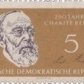 Rudolf Virchow aláírása a Charité évfordulós bélyegén