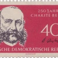 Wilhelm Griesinger aláírása a Charité évfordulós emlékbélyegén