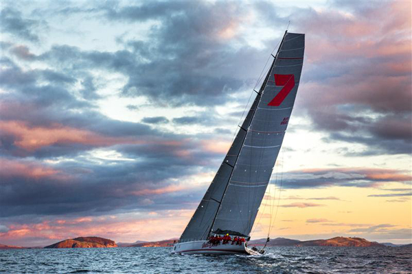 WILD OATS XI AT SUNRISE, CROSSING STORM BAY.jpg