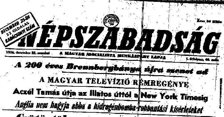 1956.dec.22. Népszabadság címlap