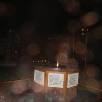 Szegeden az Ősök emlékére felálított domb oltára 2014.09.06.-án este