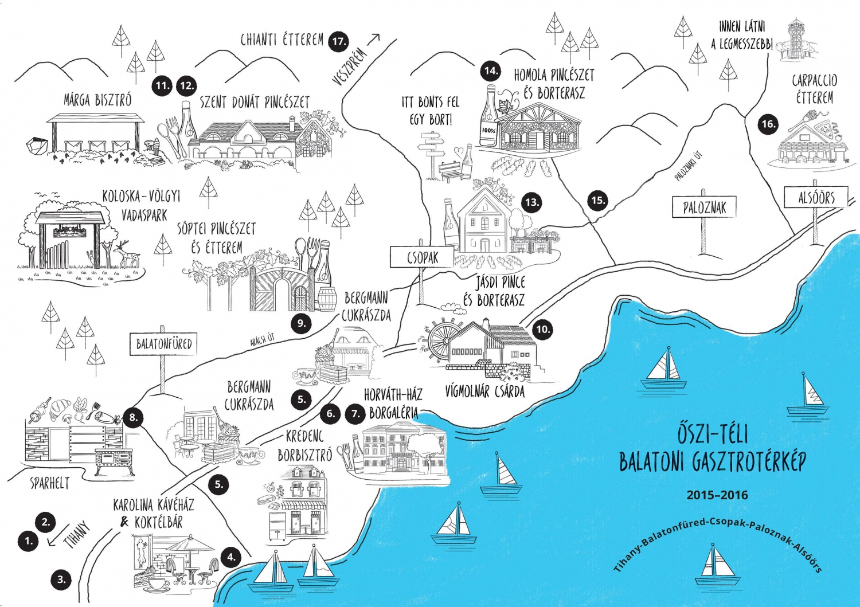 balaton látnivalók térkép Őszi téli gasztronómiai térkép a Balatonról   Itthon a Balatonon balaton látnivalók térkép