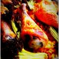 Sült csirkecomb vöröslencse ágyon