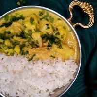 Egyszerű karfiol curry jázmin rizzsel