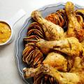 Fűszeres sült csirke háromszínű édesburgonyával
