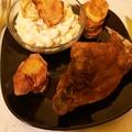 Sült nyúlcomb, kukoricasalátával, sült krumplival