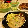 Fűszeres csirkecomb, sajtos-rozmaringos kölessel és padlizsán szósszal