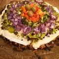 Vegetáriánus szivárvány pizza
