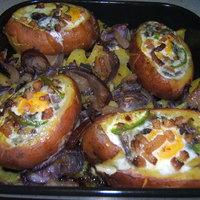 Tojásos szalonnás töltött krumpli