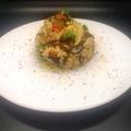 Tojásos zöldséges barna rizs, fűszeres tofuval