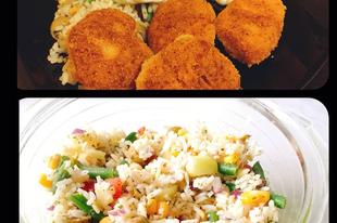 Chicken Nuggets házilag, zöldséges rizssalátával