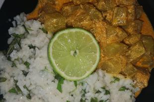 Főzőtök pörkölt, bazsalikomos, lime-os rizsel