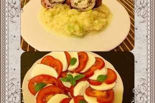 Olivás fetakrémmel töltött baconbe tekert karaj, újhagymás zellerpürével