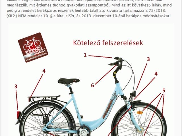 A kerékpár forgalomban tartása és kötelező felszerelése 2013.12.10-től
