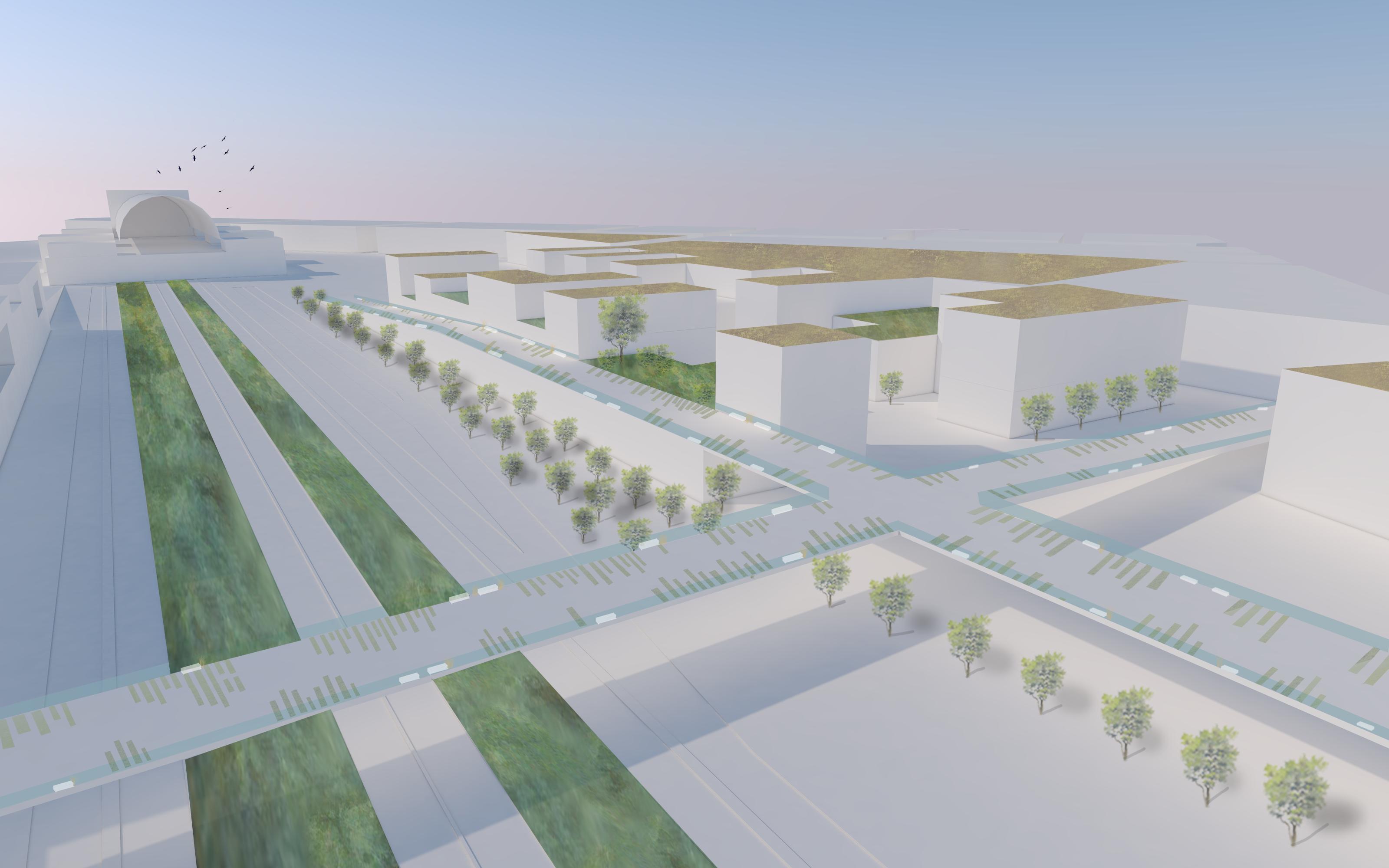 A környéken felszabaduló rozsdaövezet felszámolásával a város új területeket kaphat, melyeken lakóépületek és irodaházak épülhetnek jó közlekedési kapcsolattal.