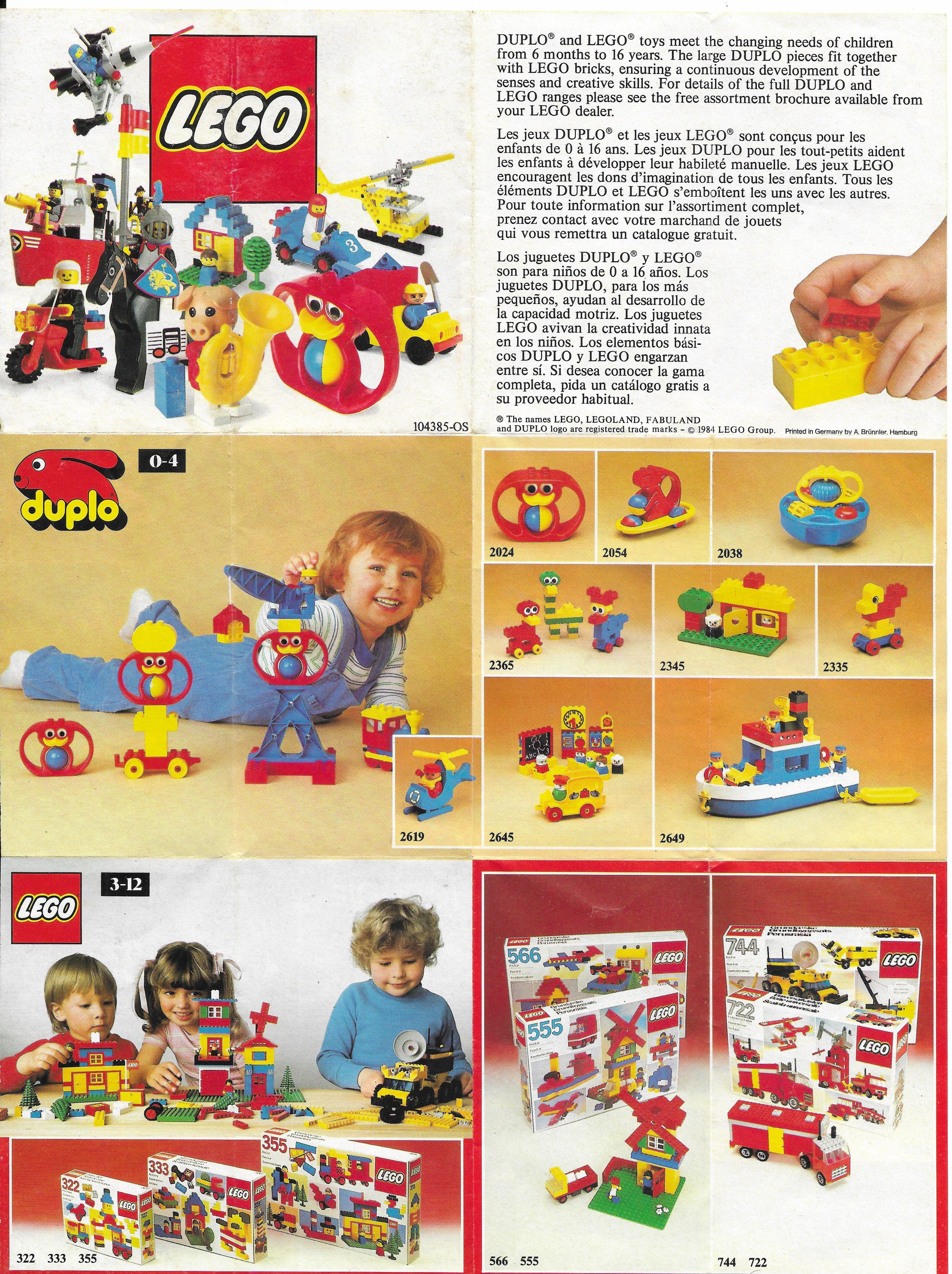 Egy másik 1984-es kihajtogatható Lego insert