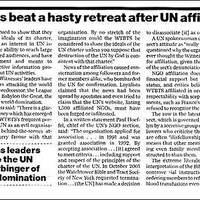 Jehova Tanúi gyors ütemben visszavonultak, miután az ENSZ kapcsolat kiderült