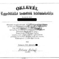 Oklevél - Egyedülálló testvérek bibliaiskolája