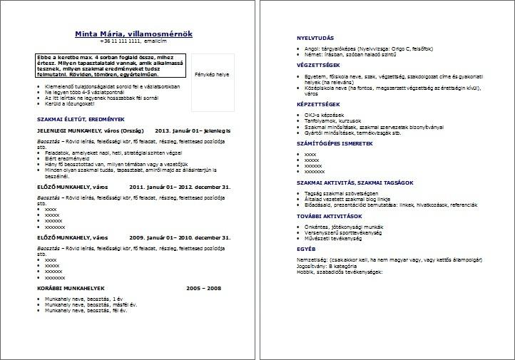 szakmai önéletrajz formátum Letölthető önéletrajz sablonok   JobAngel szakmai önéletrajz formátum