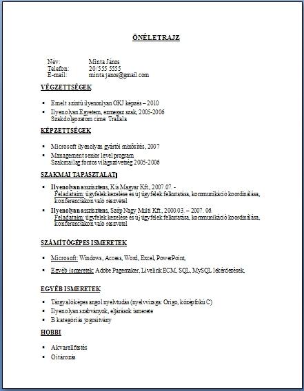 önéletrajz pdf formátumban Önéletrajz 6.   JobAngel önéletrajz pdf formátumban