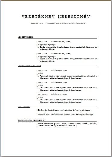 önéletrajz minta pdf Letölthető önéletrajz sablonok   JobAngel önéletrajz minta pdf