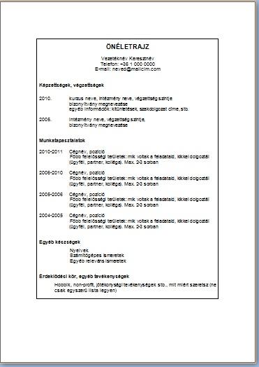 europass önéletrajz minta pdf Önéletrajzminták letöltése   JobAngel europass önéletrajz minta pdf