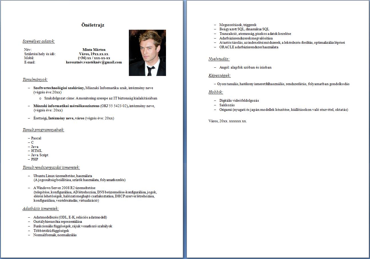 szakmai önéletrajz formátum A betanított munkás önéletrajza   JobAngel szakmai önéletrajz formátum
