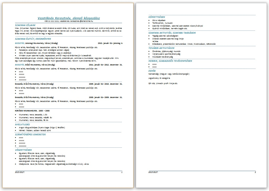 szakmai önéletrajz formátum CV péntek: szakmai önéletrajz sablon komoly szakmai múltra   JobAngel szakmai önéletrajz formátum