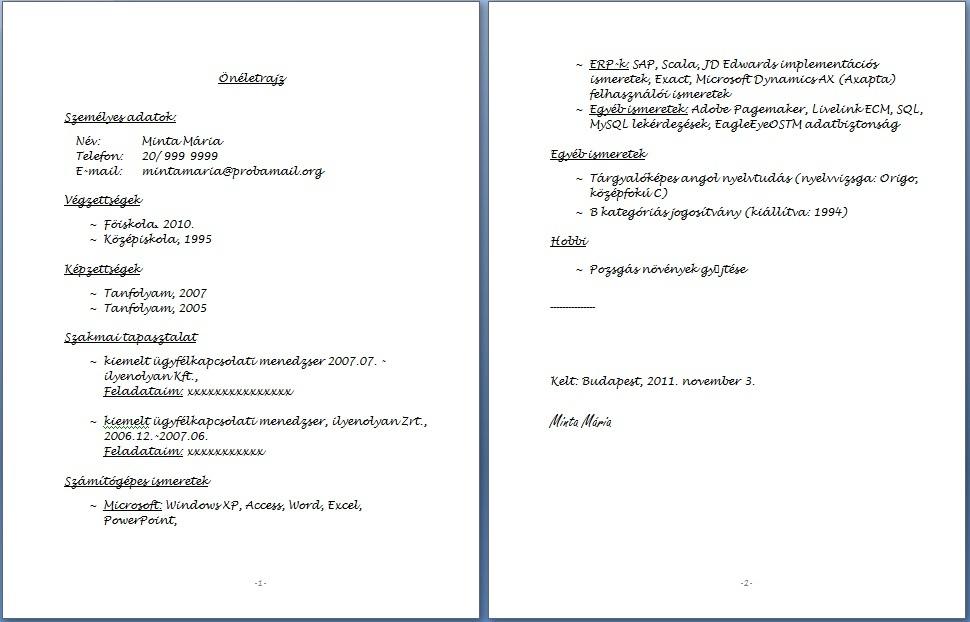 fogalmazásos önéletrajz minta A kézzel írott önéletrajz   JobAngel fogalmazásos önéletrajz minta