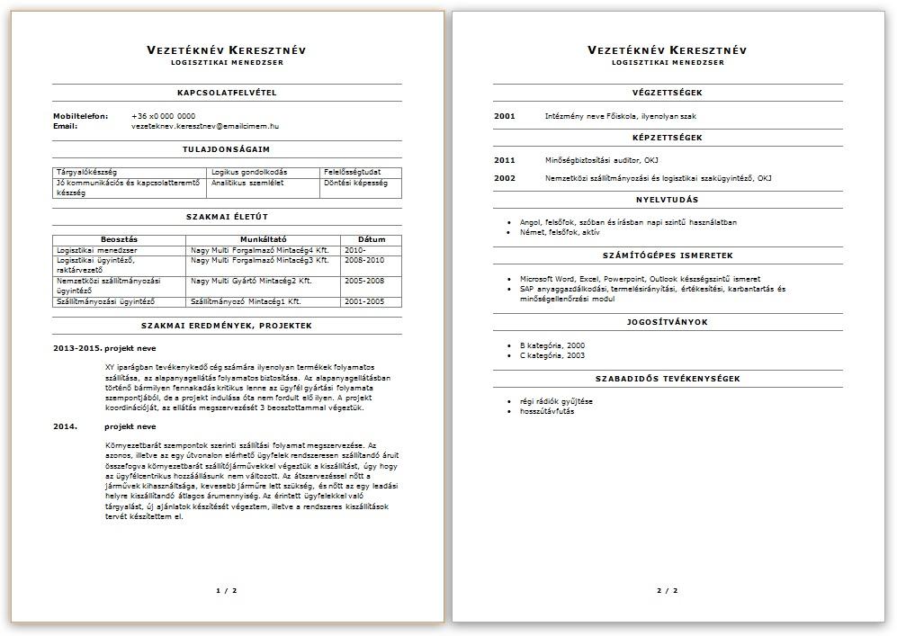 önéletrajz jó tulajdonságok CV péntek: Logisztikai menedzser önéletrajza   JobAngel önéletrajz jó tulajdonságok
