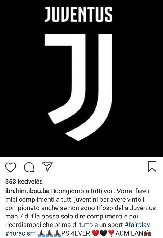 Azért ez nagyon szép: Ba gratulál a Juventus 7. bajnoki címéhez