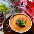 Tejfölös-kapros bográcsgulyás leves